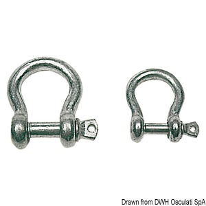 Galvanised steel bow shackles