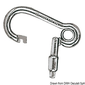 Carbine hook with outer opening, made of stainless steel title=