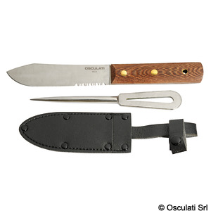 Knife + fid in leather cover title=