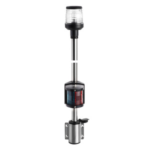 Classic pole with combined lights, made of stainless steel