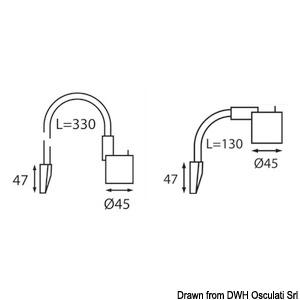 Flexible arm light 330 mm 12 V black finish