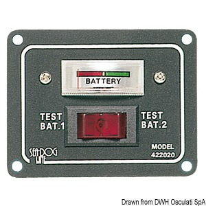 Panel with tester for 2 batteries and activation switch