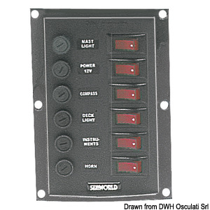 Control Panel fitted with illuminated rocker switches title=