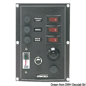 Vertical control panel w. 3 switches + horn