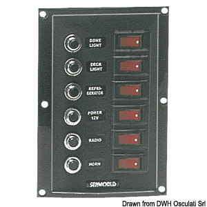 Vertical control panel 6 switches 6 fuses