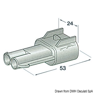 Plastic watertight connector male 2 poles