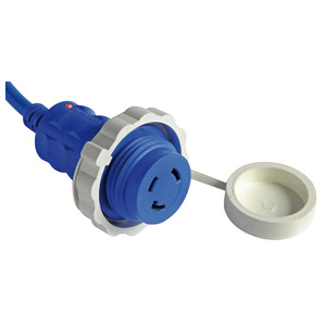 Shore power cable and plug with built-in LED light title=