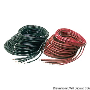Battery cables, made of copper and coated with synthetic resin insulating covering