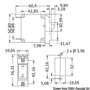 Flush mount lever switch horizontal mounting 10 A