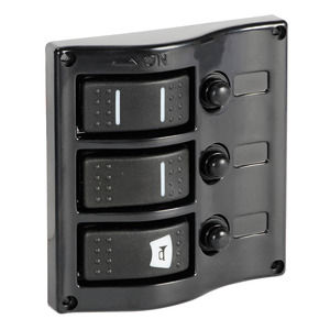 Electric control panel with flush rocker switches title=
