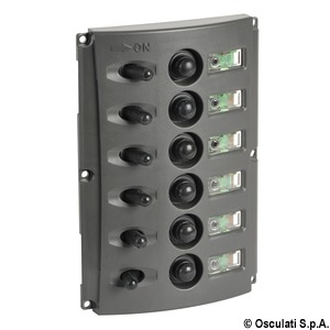 Electrical panels with automatic fuses and double LED title=