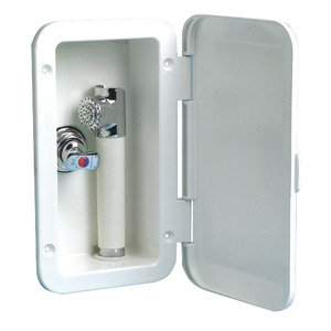 Deck shower with Mizar push-button shower head and mixer title=