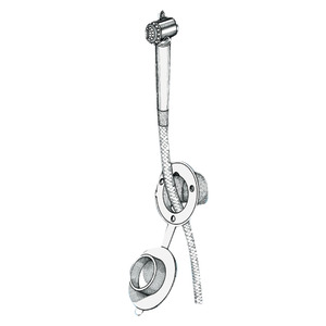 Deck shower with Mizar push-button shower head for bulkhead installation title=