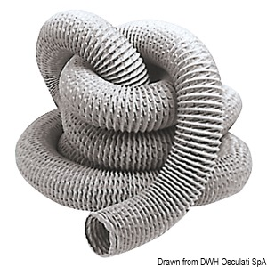 Metal-reinforced fiberglass and PVC hose for electric blowers title=
