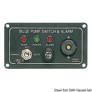 Panel switch for electric bilge pumps