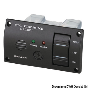Panel switch with audible alarm for bilge pumps title=