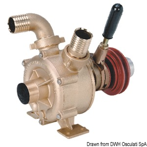 Bronze self-priming impeller pump with mechanically-activated clutch title=
