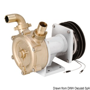 Bronze self-priming impeller pump with electromagnetic clutch title=