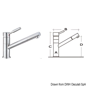 Diana swivelling mixer with ceramic cartridge, adjustable jet and long neck, suitable for kitchen sinks title=