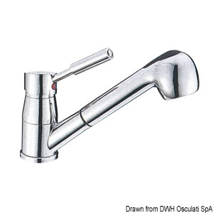 Diana swivelling mixer with ceramic cartridge and removable two-jet shower title=