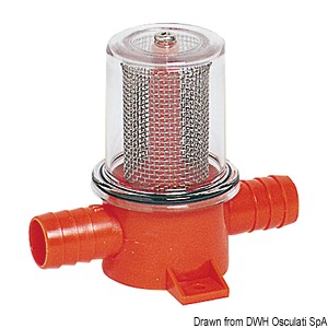 Flush mount filter for bilge pumps and showers title=