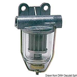 Fuel filter with clear glass tray title=
