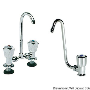 Swivelling spout taps made in chromed brass title=