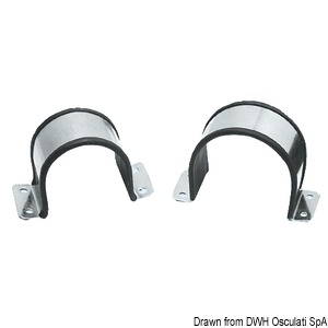 Rubber-coated stainless steel U-clamps for single pipes