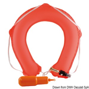 Throwing self-inflatable horseshoe lifebuoy title=