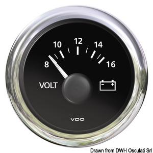 Voltmeter black 8/16 V