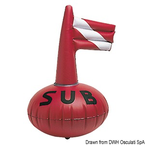 Inflatable diver signal buoy