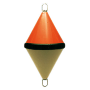 Two-cone reinforced ABS bicoloured buoy title=