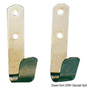 Mirror polished stainless steel holding hooks for boat hooks title=
