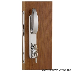 Lock for sliding doors with external handles, Yale external key and internal strike plate