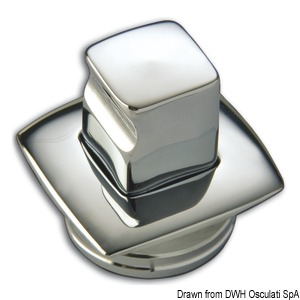 Square chromed brass knob + ring max 19 mm