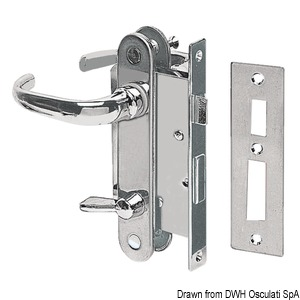 Chromed brass lock right 133x15 mm