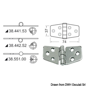 Hinge w/central pin 74x37 mm