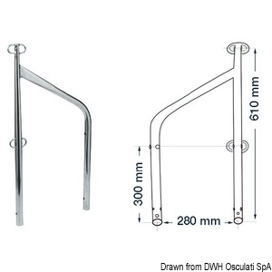 Twin stanchion for external bases title=