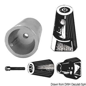 Ogive shaft anodes with standard thread
