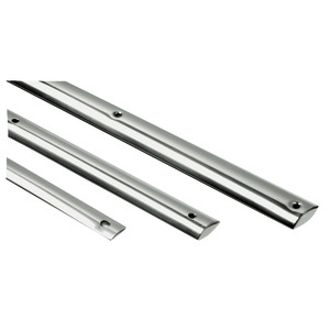 Low profile D-section rubbing strake made of mirror polished AISI 316 stainless steel title=