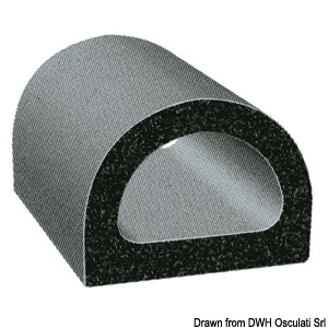 Self adhesive EPDM D-section soft rubber extrusion title=