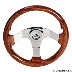 Mahogany polyurethane lacquered steering wheel title=