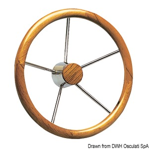 Steering wheel with external teak wheel rim, thick diameter