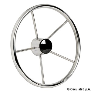 Mirror polished stainless steel steering wheels fitted with 5 spokes title=