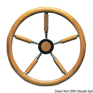 Steering wheels with external teak wheel rim and spokes coated with teak title=