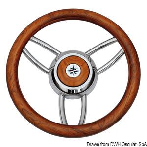 Blitz steering wheel w/matt teak outer ring