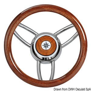 Blitz steering wheel w/polished mahogany outerring