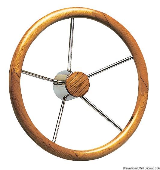 OSCULATI SS Spokes Steering Wheel With Teak External Rim 400 mm
