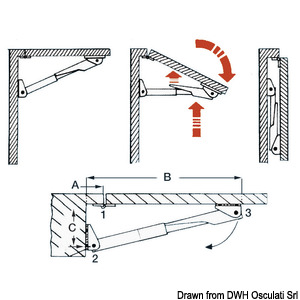 Folding arms for tip-top tables