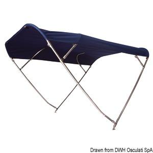 Capottina parasole pieghevole SHADE MASTER FLY INOX DEEPTH, 4 archi title=